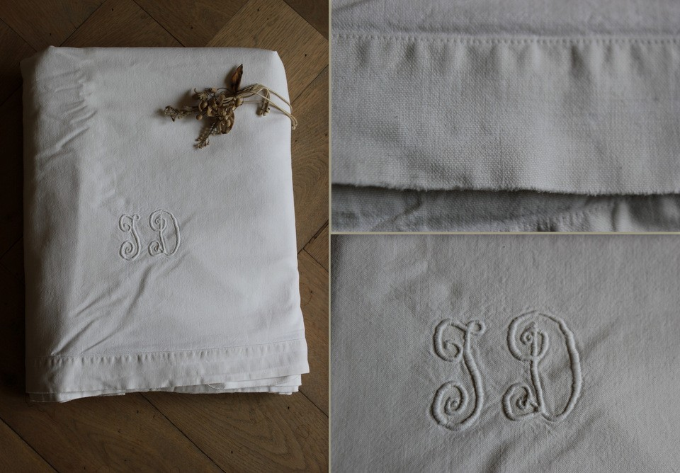 Linnen laken tweepersoon monogram