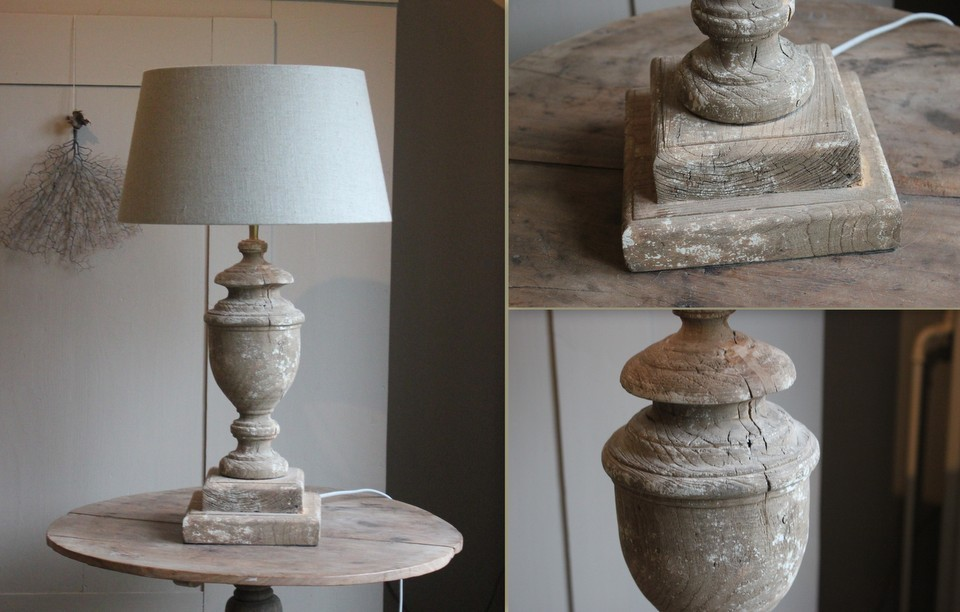 Balusterlamp oud hout
